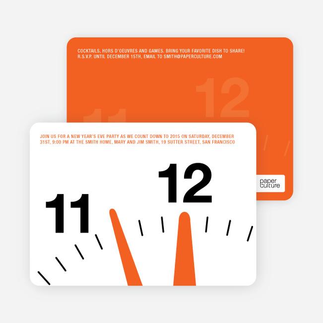 New Year's Eve Party Invitations: Countdown Clock - Tangerine Orange