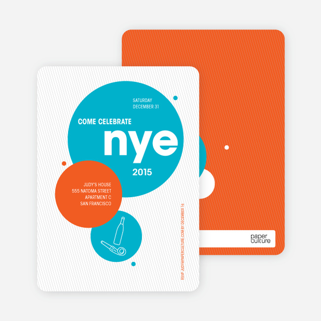 New Year's Eve Party Invitations - Turquoise