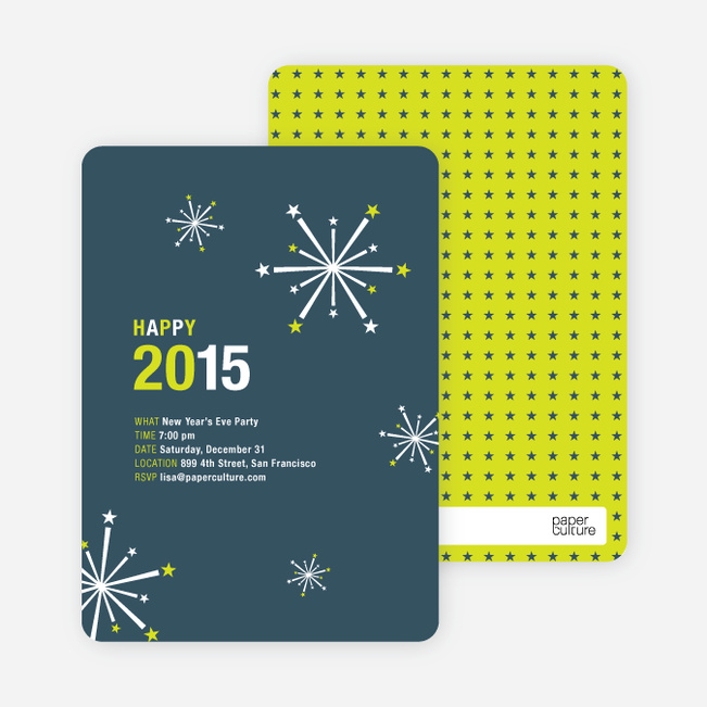 New Year's Fireworks New Year's Invitations - Blueberry