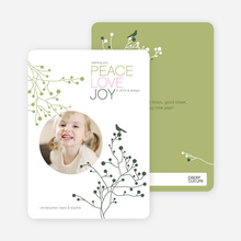 Peace Love Joy Holiday Photo Cards - Dark Forest