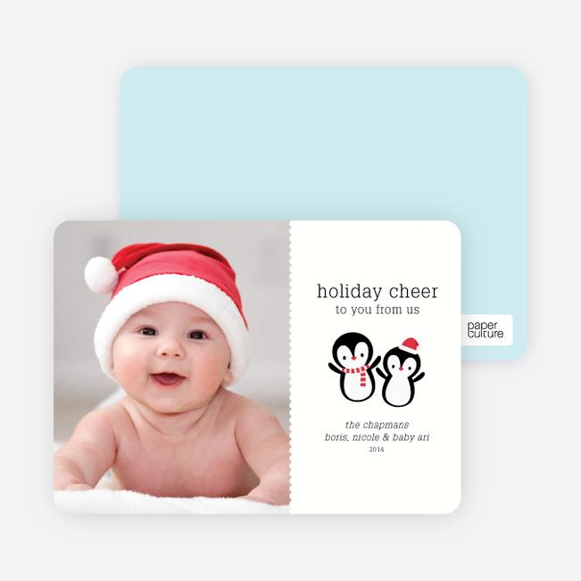 Baby Penguins Holiday Photo Cards - Ebony