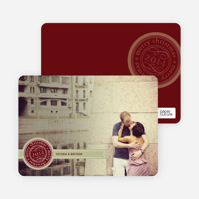 Personalizable Ribbon Seal Christmas Card - Sangria