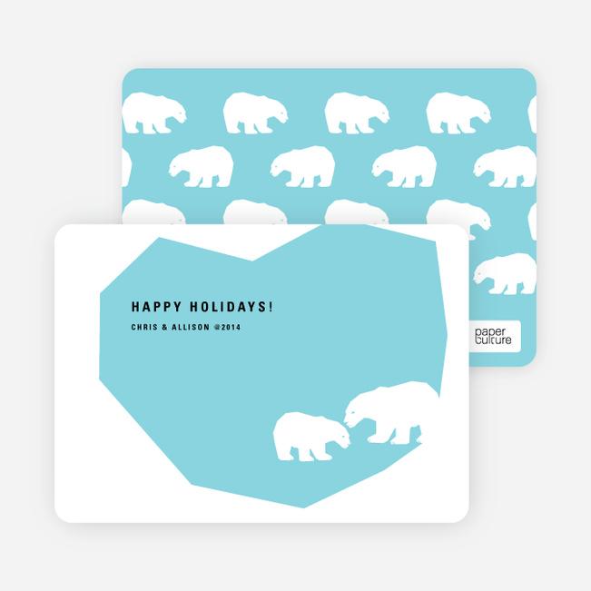 Polar Bear Happy Holidays Cards - Baby Blue