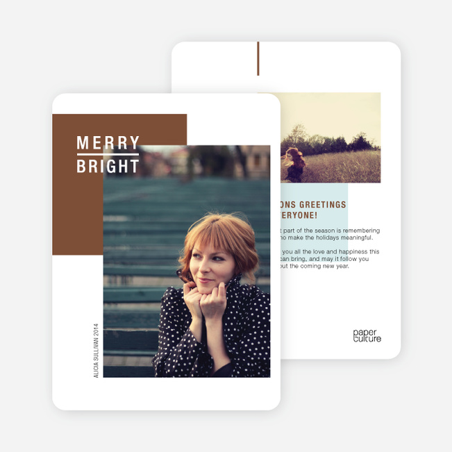 Season's Greetings Cards: Merry & Bright - Brown