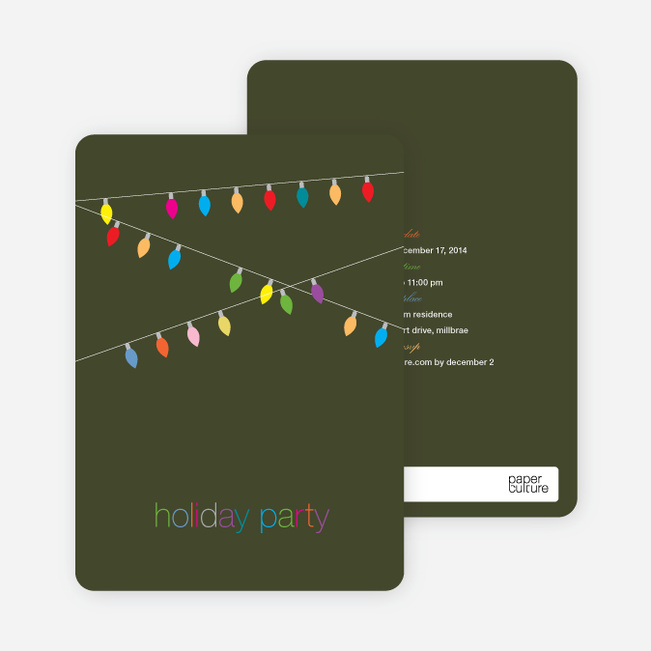String of Christmas Lights Holiday Party Invitations - Khaki Green