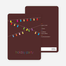String of Christmas Lights Holiday Party Invitations - Plum