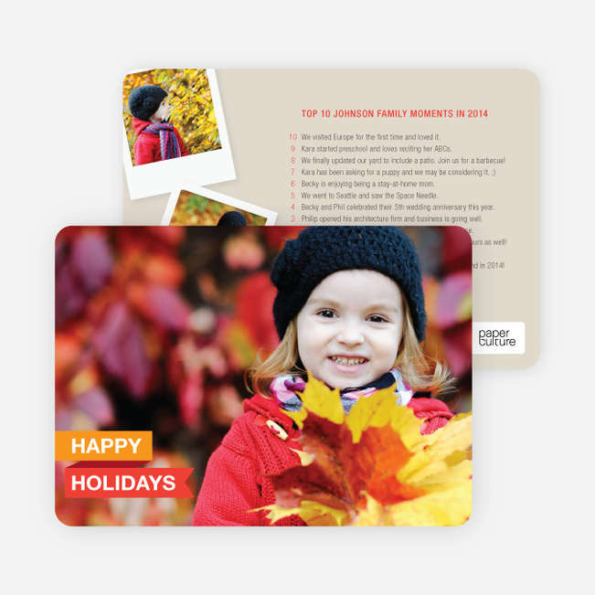 Top 10 Year in Review List Holiday Photo Cards - Orange