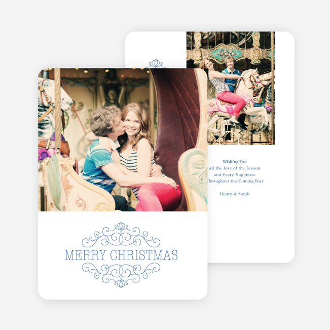 Chic Merry Chistmas Cards - Blue