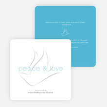 Dove of Peace and Love Religious Christmas Cards - Blue