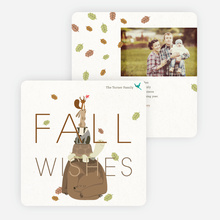 Fall Wishes Thanksgiving Cards - Brown