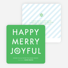 Happy, Merry, Joyful Striped Holiday Cards - Green