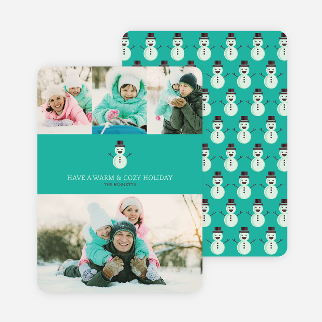 Holiday Cards: Snowmen Everywhere - Green