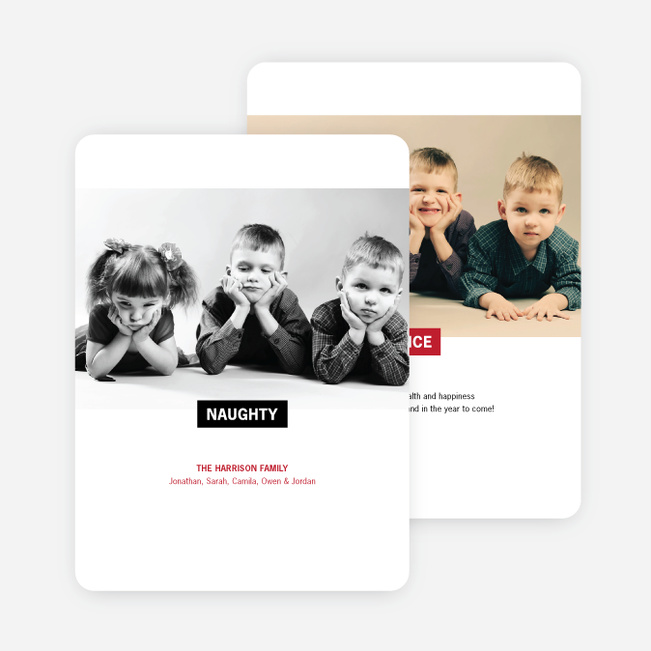 Naughty and Nice Holiday Photo Cards - Red
