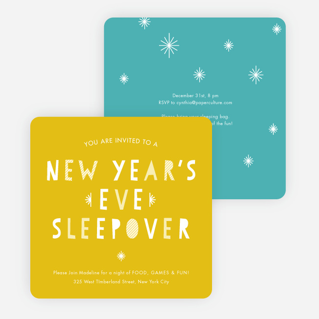 New Year's Eve Sleepover Party Invitations - Yellow