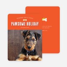 Pawsome Dog Holiday Photo Cards - Orange