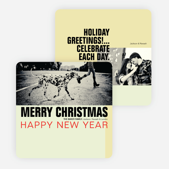 Retro Christmas and New Year's Cards - Yellow