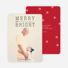 Snow Flurry Merry & Bright Holiday Cards - Red