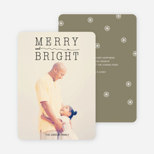 Snow Flurry Merry & Bright Holiday Cards - Green