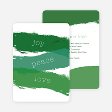 Strokes of Joy, Peace & Love Christmas Cards - Green