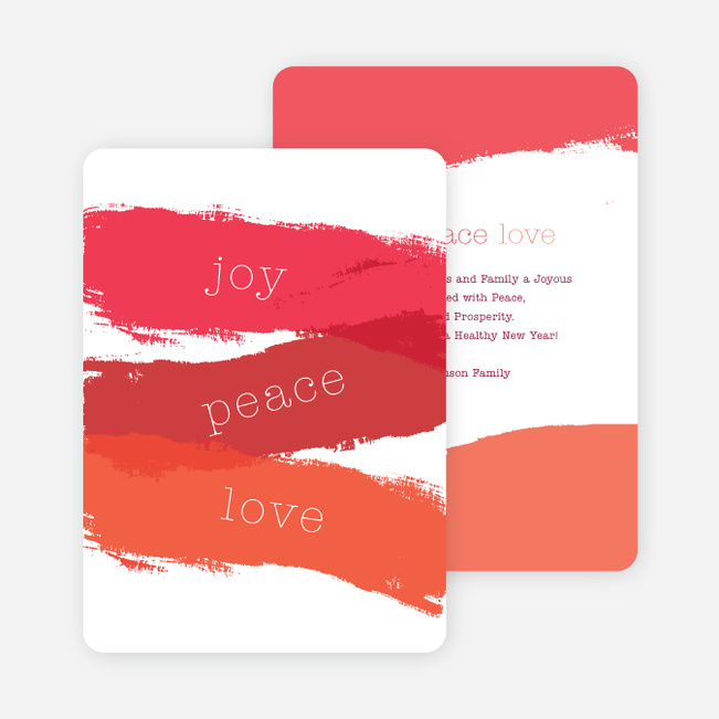 Strokes of Joy, Peace & Love Christmas Cards - Red