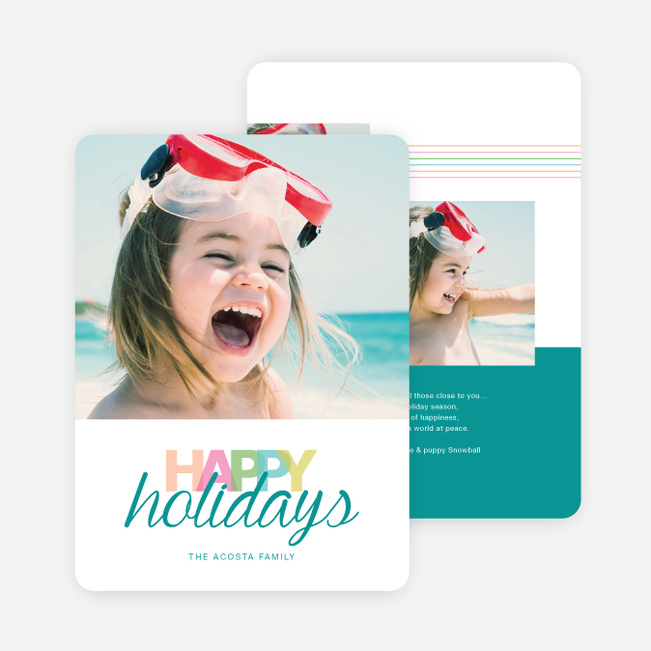 Whimsical Happy Holidays Cards - Blue
