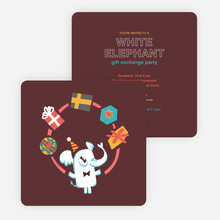 White Elephant Gift Exchange Party Invitations - Brown
