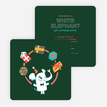 White Elephant Gift Exchange Party Invitations - Green