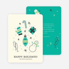 Winter Icons Holiday Party Invitations - Green