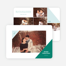 Corners Christmas Photo Cards - Green