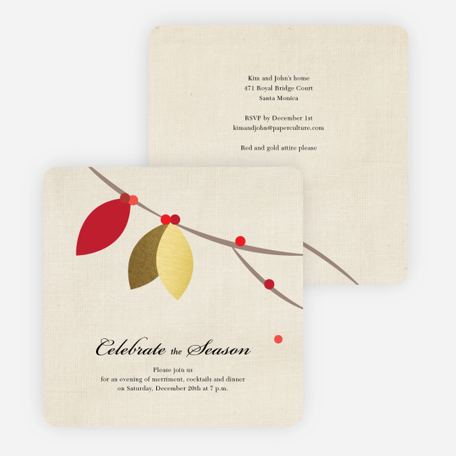 Gold Leaf Cards for the Holidays - Red