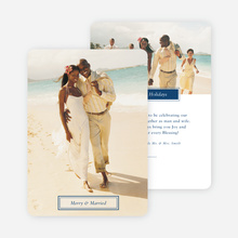 Merry & Married Holiday Cards for Newlyweds - Blue
