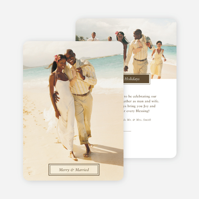 Merry & Married Holiday Cards for Newlyweds - Brown