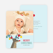 Ornament Reindeer Christmas Cards - Blue