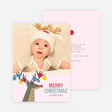 Ornament Reindeer Christmas Cards - Pink