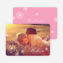 Retro Snowflake Holiday Cards - Pink