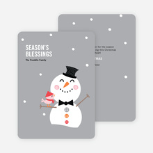 Snowman Celebrating Season's Blessings - Gray