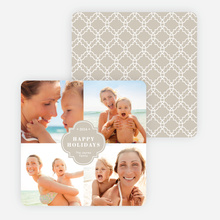 Family Crest Holiday Photo Cards - Beige