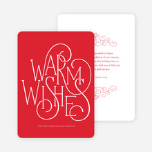 Fancy Christmas Cards with Warm Wishes - Red