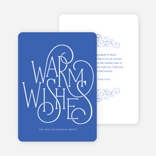 Fancy Christmas Cards with Warm Wishes - Blue