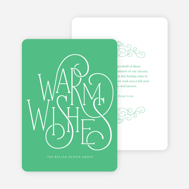 Fancy Christmas Cards with Warm Wishes - Green