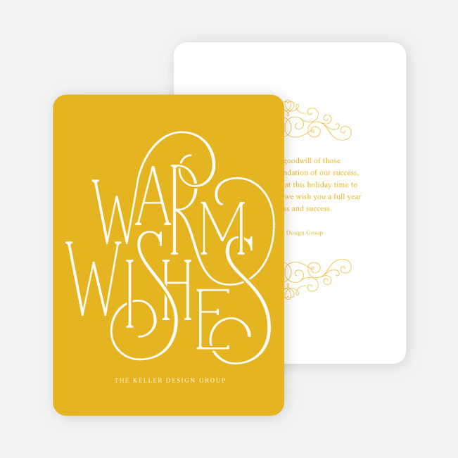 Fancy Christmas Cards with Warm Wishes - Yellow