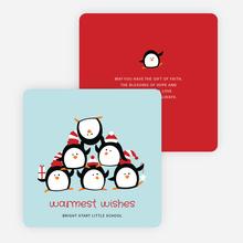 Penguin Pyramid Holiday Cards - Blue