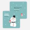 Snowman Celebrating Season's Blessings - Blue