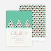 Geometric Trees Christmas Cards - Green