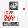 Love, Peace & Hope Holiday Cards - Red