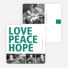 Love, Peace & Hope Holiday Cards - Green