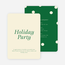 Confetti Holiday Party Invitations - Green