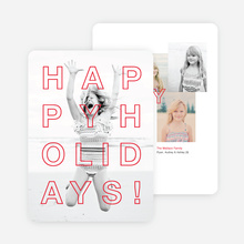 Happy Holidays Cards Outline - Red