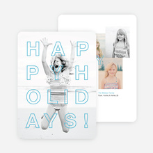 Happy Holidays Cards Outline - Blue