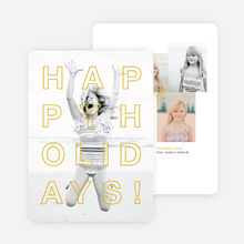 Happy Holidays Cards Outline - Yellow